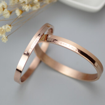 Couple's Korean-style plated rose gold for men and women titanium steel bracelet