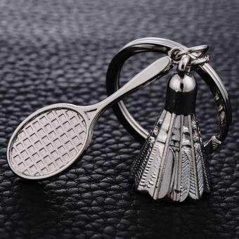Creative Gifts Accessories Badminton key Chain Shuttlecock & Badminton Racket key ring Love Couple Key Holder