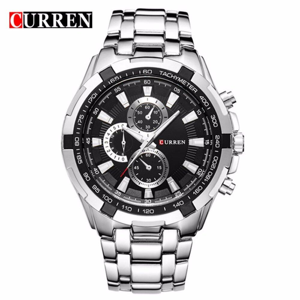 curren 8023 mens silver black stainless steel watch lazada