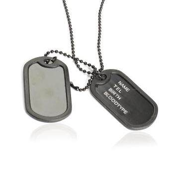 Dual Plates Pendant Necklace Man Sweater Chain Military Army StyleCool
