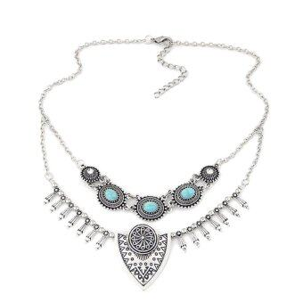 Ethnic Gypsy Bohemian Tribal Boho Coin Statement Necklace(Silver)