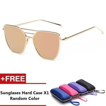 Evora Brand Unisex Retro Aluminum Sunglasses Polarized Lens VintageEyewear Accessories Sun Glasses For Men/Women (Gold+Pink)