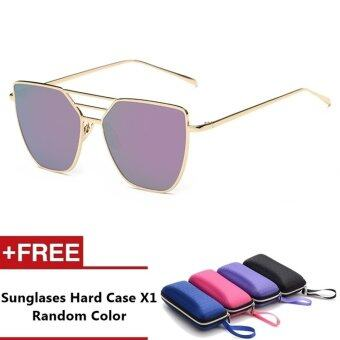 Evora Brand Unisex Retro Aluminum Sunglasses Polarized Lens VintageEyewear Accessories Sun Glasses For Men/Women (Gold+Purple)