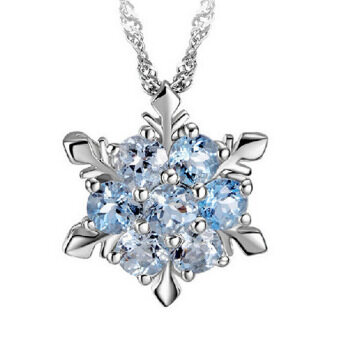 Fancyqube Women Crystal Wedding 925 silver jewelry Necklace Blue