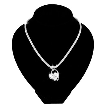 Fashion 925 Sterling Silver Double Heart Pendant Necklace Chain Women Jewelry UK
