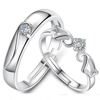 Fashion Lovers Rings Silver Adjustable Couple Ring Jewelry E005