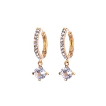 Fashion Women Silver/Gold Plated Crystal Rhinestone Studs EarringsHoop Jewelry Gold