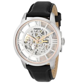 Fossil Men Townsman Skeleton Automatic Black Leather Strap WatchME3041