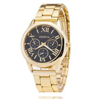 Geneva Quartz Stainless Steel Unisex Wrist Watch Gold Black