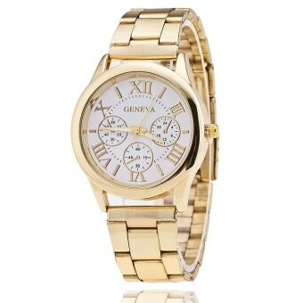 Geneva Quartz Stainless Steel Unisex Wrist Watch Gold White