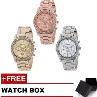 Geneva Steel Belt Elegant Diamond Quartz Watch Women's Watch 3 Pcs Set (Silver, Gold and Rose Gold)