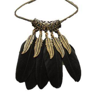 Hequ Fashion Long Chain Feather Necklace for Women Jewelry VintageCarved Leaf Necklaces Pendants Statement Collares Black
