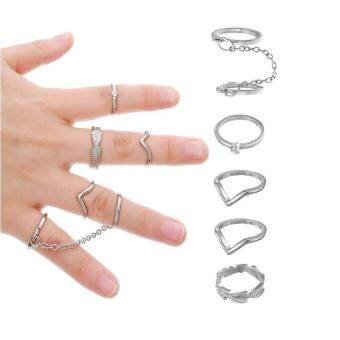 High Quality Store New 6pcs/Set Gold Silver Finger Ring CrystalAbove Knuckle Stacking Band Midi Ring Silver