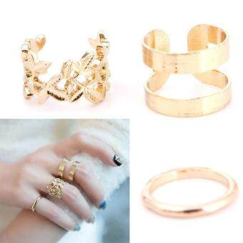 High Quality Store New Fashion Leaves Gold Silver Metal Women Lady Knuckle Rings Set Kit