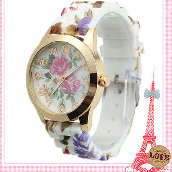 Homester Women Fashion Silica Gel Watch Porcelain Pattern Watch -JD363