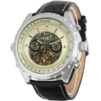 (Import) Jargar Automatic Dress Watch with Black Leather Strap GiftBox JAG212M3S2 (White)