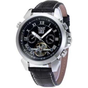(Import) Jargar Automatic Mechanical Movement with Black Leather Strap Gift Box JAG922TG06 (Silver Black)