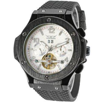 (Import) Jargar Men Mechanical Tourbillon Automatic Movement BlackLeather Strap Gift Box JA228 (White)
