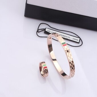 Japanese and Korean style titanium steel rose gold men and women couple's bracelet