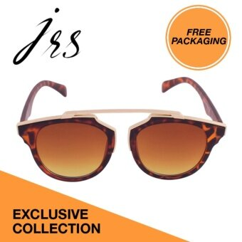 JRS Women Tortoise Sunglasses Gold temple arms Round UV 400 Protection Tawny Lenses P3409-SD - intl