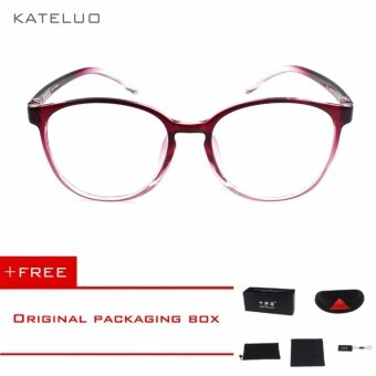 KATELUO Retro Eyeswear TR90 Anti Computer Blue Laser Fatigue Radiation-resistant Eyeglasses Goggles Glasses 9300 (Red)