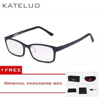 KATELUO TUNGSTEN CARBON Computer Goggle Anti Blue Laser Fatigue Radiation-resistant Reading Glasses Frame Eyeglasses Oculos de grau 1310 (blue) [ free gift ]