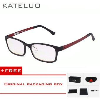 KATELUO TUNGSTEN CARBON Computer Goggle Anti Blue Laser Fatigue Radiation-resistant Reading Glasses Frame Eyeglasses Oculos de grau 1310 (Red) [ free gift ]
