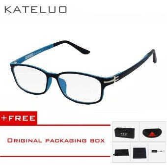KATELUO TUNGSTEN Computer Goggles Anti Fatigue Radiation-resistant Glasses Eyeglasses Frame Eyewear Spectacle Oculos 13028(Blue) [ free gift ]