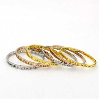 Korean-style gold titanium steel plated diamond bracelet