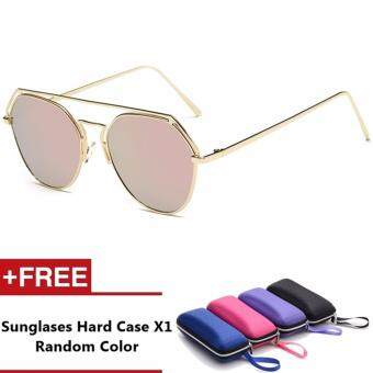 Laffy Brand Unisex Retro Aluminum Sunglasses Polarized Lens Vintage Eyewear Accessories Sun Glasses For Men/Women (Pink)