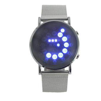 LED Round Mirror Blue Circles Stainless Steel Watch Silver