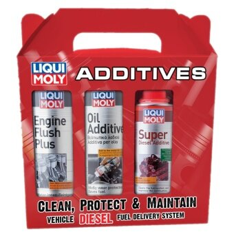Liqui Moly Engine Flush Plus, Oil Additive, and Super DieselAdditive 3-in-1 package