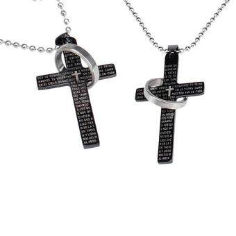 Men Women Cross Bible Stainless Steel Pendant Chain Necklace Black