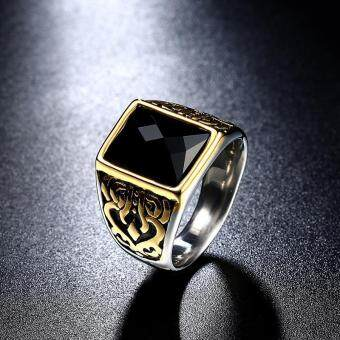 Men's Stainless Titanium Steel Rings 18K Gold Plated Islam Ringwith Black Zircon