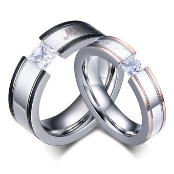 """My Love"" Cubic Zirconia Stainless Steel Couples Engagement WeddingBands Rings For Men Women"