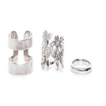 Okdeals 3PCS Metal Plated Leaf Above Knuckle Finger Joint Ring(Silver)