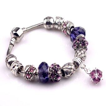 ONLY Original 925 Silver Purple Round Pearl Pendant Charm Bracelet