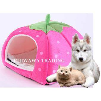 Pet House Strawberry Basket Soft Pet Bed House Dog Cat Supplies (Rose Red)