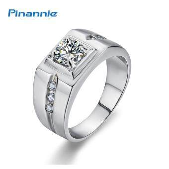Pinannie Cubic Zirconia Platinum Plated 925 Sterling Silver Men Rings
