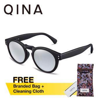 QINA Polarized Unisex Matte Black Sunglasses Round UV 400 Protection Silver Lenses QN3502