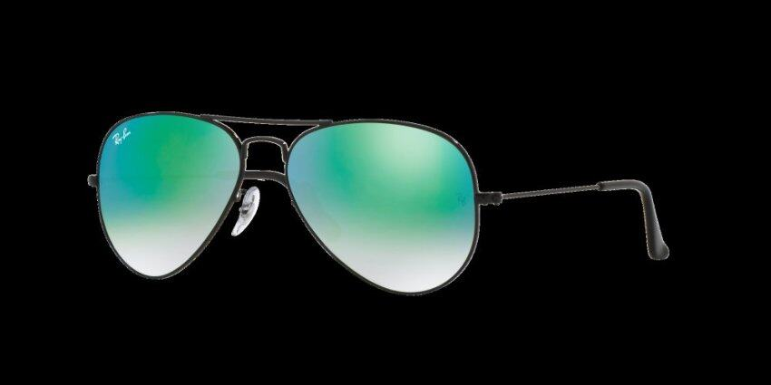 pink ray ban aviators 5y7a  RAY-BAN AVIATOR LARGE METAL MIRROR GRADIENT GREEN Lenses