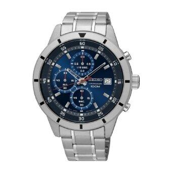 Seiko Men's Chronograph Stainless Steel Band Watch SKS559P1 (Silver& Blue)