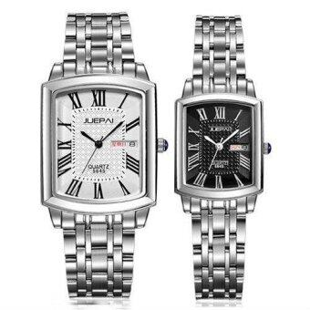 Set Of 2 Jazz Men's 5645 White + Women's 5645 Black WaterproofKorean Style With Calendar Couples Watch