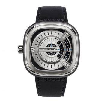 SEVENFRIDAY M1-1 Automatic Rotating Disc Leather Strap Silver Black Watch