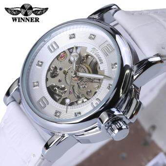 Skeleton Watch Fashion Automatic Mechanical Leather Strap Women Wristwatch