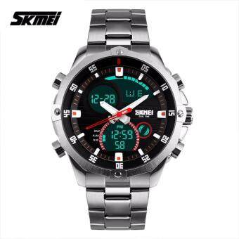 SKMEI 1146 Men's Military Sport Dual Movement Digital LED Calendar Alarm Stainless Steel Watch (Silver)