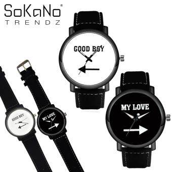 SoKaNo Trendz C02 Good Boy & My Love PU Leather Couple Watch