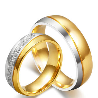 Stainless Steel 18k Gold Plated Wedding Engagement Band Couple Ring