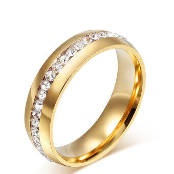 Stainless Steel Gold Plated Classical Zircon Engagement WeddingBand Ring Anillos Women Jewelry Rings for Women