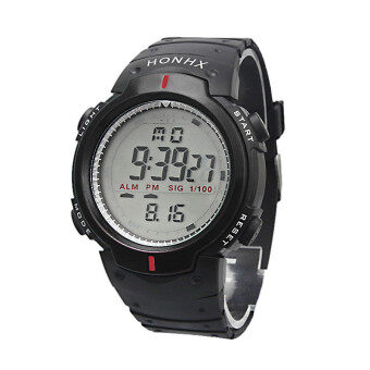 Waterproof Outdoor Mountaineering Sports Men Digital LED QuartzWrist Watch (Black)